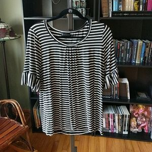 Black and white striped swing top